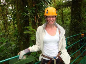 Jane about to go on a zip-line in sunny Costa Rica!